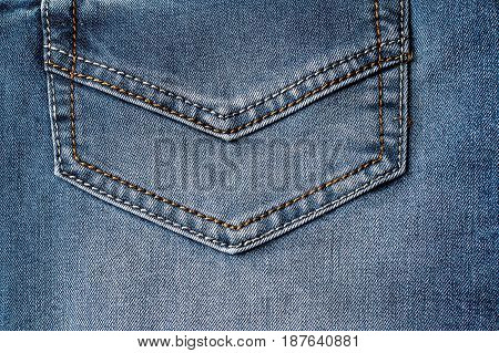 closeup view to abstract space of empty blue jeans texture