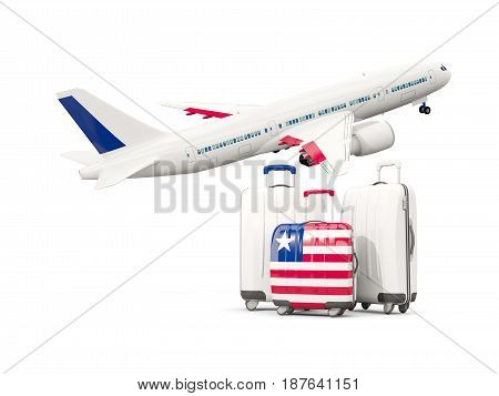 Luggage With Flag Of Liberia. Three Bags With Airplane