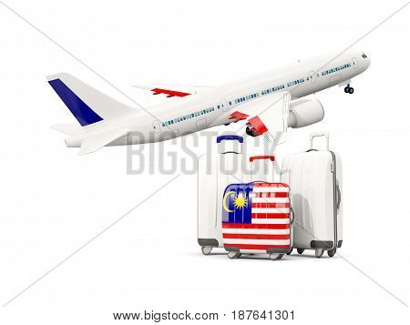 Luggage With Flag Of Malaysia. Three Bags With Airplane