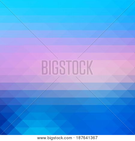 Blue Shades Pink Rows Of Triangles Background, Square
