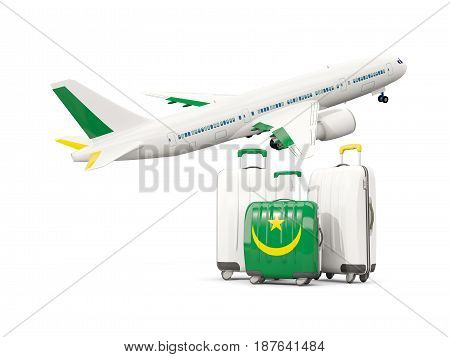 Luggage With Flag Of Mauritania. Three Bags With Airplane