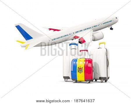 Luggage With Flag Of Moldova. Three Bags With Airplane