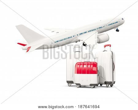 Luggage With Flag Of Monaco. Three Bags With Airplane