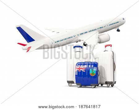 Luggage With Flag Of Montserrat. Three Bags With Airplane