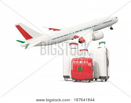 Luggage With Flag Of Morocco. Three Bags With Airplane