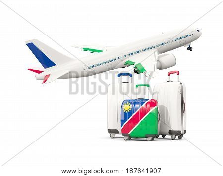 Luggage With Flag Of Namibia. Three Bags With Airplane