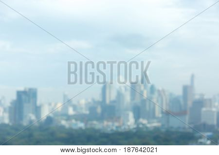 Abstract blurred photo of Bangkok cityscape central business district of Thailand.