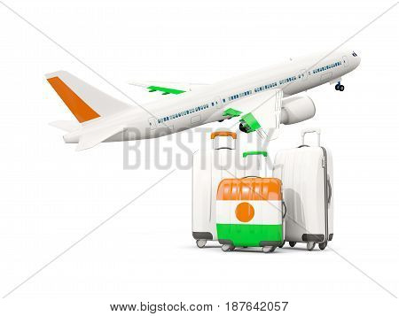 Luggage With Flag Of Niger. Three Bags With Airplane