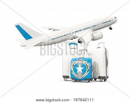 Luggage With Flag Of Northern Mariana Islands. Three Bags With Airplane