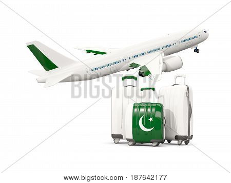 Luggage With Flag Of Pakistan. Three Bags With Airplane