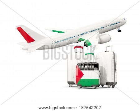 Luggage With Flag Of Palestinian Territory. Three Bags With Airplane