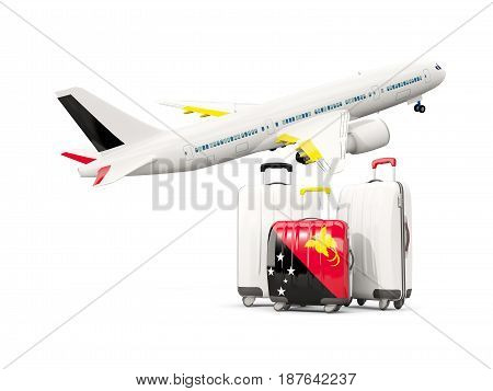 Luggage With Flag Of Papua New Guinea. Three Bags With Airplane