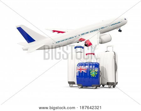 Luggage With Flag Of Pitcairn Islands. Three Bags With Airplane