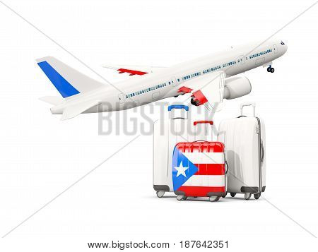 Luggage With Flag Of Puerto Rico. Three Bags With Airplane