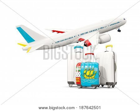 Luggage With Flag Of Saint Pierre And Miquelon. Three Bags With Airplane