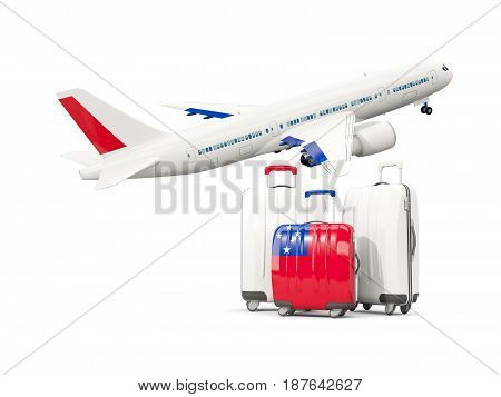 Luggage With Flag Of Samoa. Three Bags With Airplane