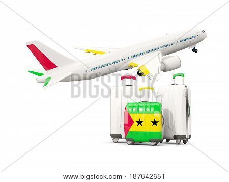 Luggage With Flag Of Sao Tome And Principe. Three Bags With Airplane
