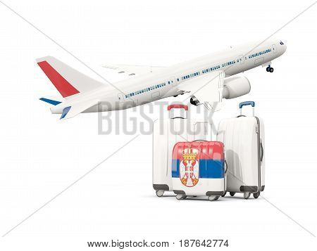 Luggage With Flag Of Serbia. Three Bags With Airplane