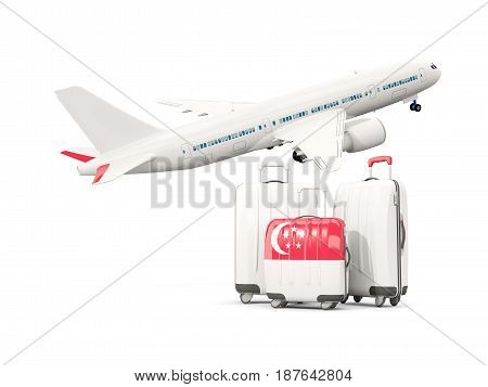 Luggage With Flag Of Singapore. Three Bags With Airplane