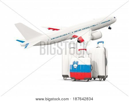 Luggage With Flag Of Slovenia. Three Bags With Airplane
