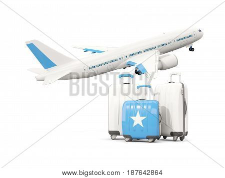 Luggage With Flag Of Somalia. Three Bags With Airplane