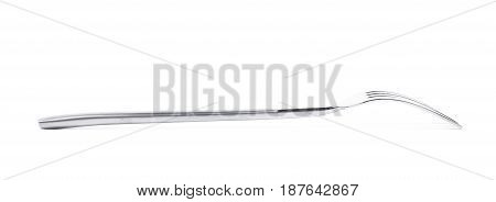 Metal dinner fork isolated over the white background