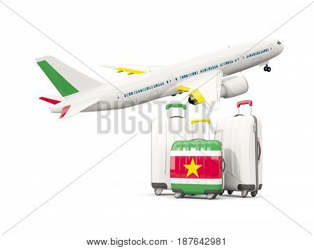 Luggage With Flag Of Suriname. Three Bags With Airplane