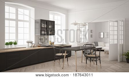 Minimalist scandinavian white kitchen with living room in the background classic white and gray interior design, 3d illustration