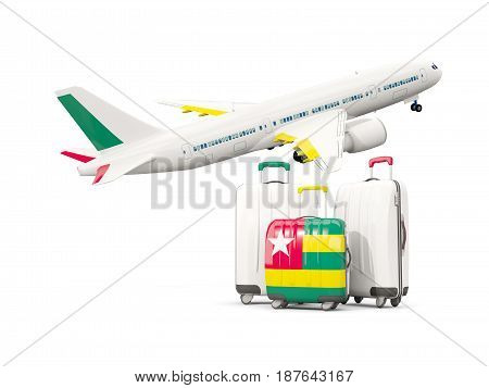 Luggage With Flag Of Togo. Three Bags With Airplane
