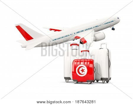 Luggage With Flag Of Tunisia. Three Bags With Airplane