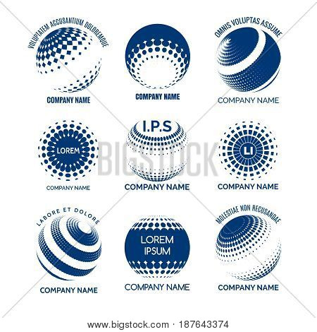 Global technology logo set. Vector circles sphere icons for tech brands