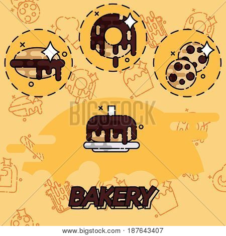 Bakery flat concept icons with sweet pastries products ingredients baker equipment isolated vector illustration