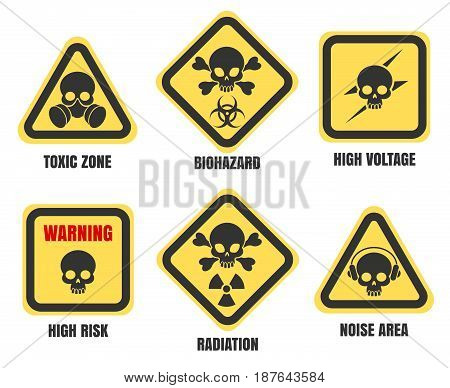 Skull signs, death notice isolated on white background. High voltage and radiation, biohazard, toxic zone and radiation vector symbols set