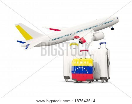 Luggage With Flag Of Venezuela. Three Bags With Airplane
