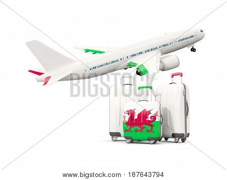 Luggage With Flag Of Wales. Three Bags With Airplane