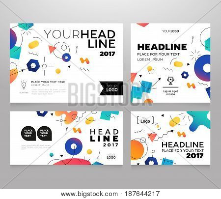 Headline Banner - vector template illustration poster with abstract memphis style background. Make your idea look good, promote it. Headline and topic. Modern outlook with different shapes. Copy space for your logo.