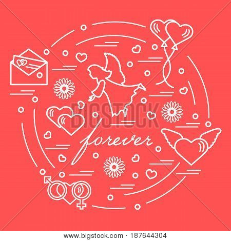 Cute Vector Illustration With Different Love Symbols: Hearts, Air Balloons, Postal Envelope, Angel A