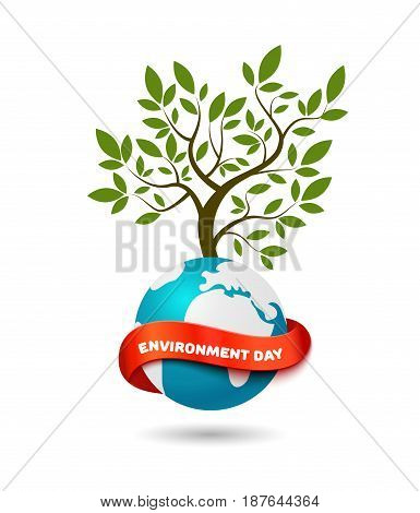 Big tree on the globe with red ribbon and space for text. Realistic vector illustration modern design template. Ecology concept, World Environment Day