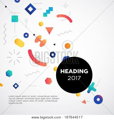 Abstract Background - vector template memphis style background for a presentation. Make your idea look good. Heading with text. Modern outlook with different shapes. Copy space for your information.