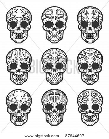 Calavera or sugar skull tattoo set for mexican day of the dead vector art isolated on white background