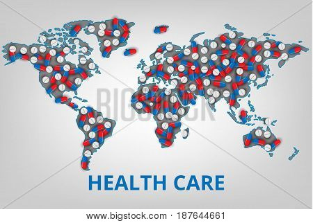 Vector illustration.World health care organization. Map with a lot of pills and vitamins. Medicine concept for business and clinics