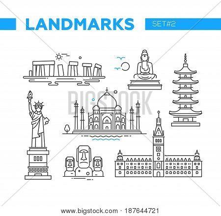 World Famous Landmarks - illustration of vector line design icons set. Isolated images of Stonehenge, Buddha, statue of Lierty, Pagoda, Taj Mahal, Easter Island heads, Hamburg Rathaus
