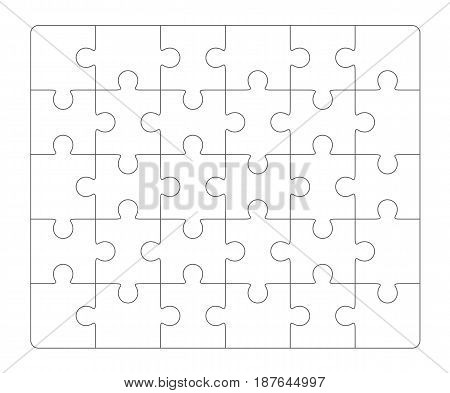 Jigsaw puzzle blank template 6x5 elements, thirty puzzle pieces. Vector illustration.