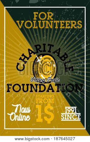 Color vintage charitable foundation banner with give love and peace symbol vector illustration