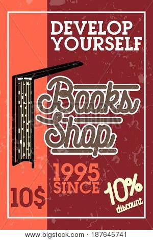 Color vintage books shop banner. Bookstore. Books, science knowledge