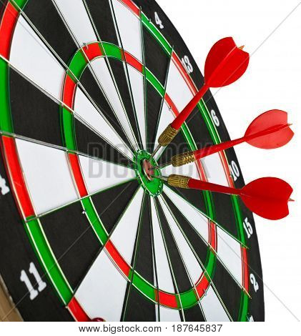 dartboard with darts isolated on white. close up