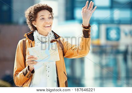 Tourist Woman Looking At Map