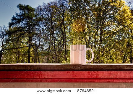 A white porcelain cup on a rail of a balcony. It's a beautiful spring morning.