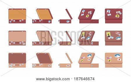 Old brown, beige open suitcase set with luggage stickers, vintage charm, storage, home decor and traveling. Vector flat style cartoon illustration, isolated on white background, different positions