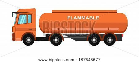Vector illustration of orange colored gas tanker with flammable text on the white background.